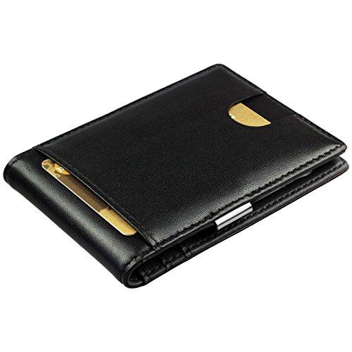 Portafoglio intelligente vera pelle con ferma banconote - Portafogli nero piccolo per lui, slim wallet, regalo per uomo porta carte di credito
