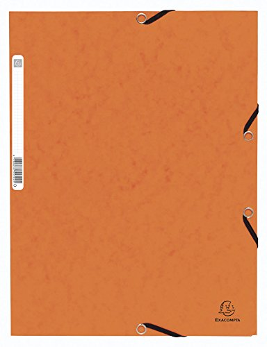 Exacompta - Ref. 55304E - Pack of 10 Elastic folders 3 Flaps Glossy Card 355 GSM - with Back Label - A4 - Orange