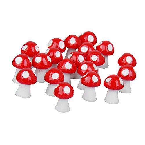 Sharplace 40x Mini Pilz Form Garten Blumentopf DIY Micro-Landschaft Garten Deko Ornamente Zubehör - Rot, 9x11mm