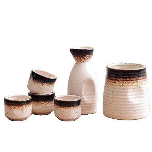 MDFQL Set de Saki de cerámica Japonesa Tradicional, Conjuntos de Copa de 6 Piezas, con Frasco de Cadera, jarras de Vino cálido, Copa de Vino, para Bar, Sala de Estar, Comedor o Cocina,C