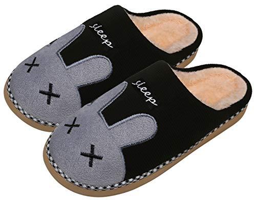 Mishansha Winter Warm Plüsch Hausschuhe Indoor Home Kuschelige Pantoffeln Outdoor rutschfeste Cartoon Slippers für Herren Damen, Kanin-Schwarz, 39/40 EU=40/41 CN