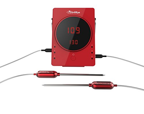 GrillEye, Red GE0001 Smart Bluetooth Grilling & Smoking Thermometer