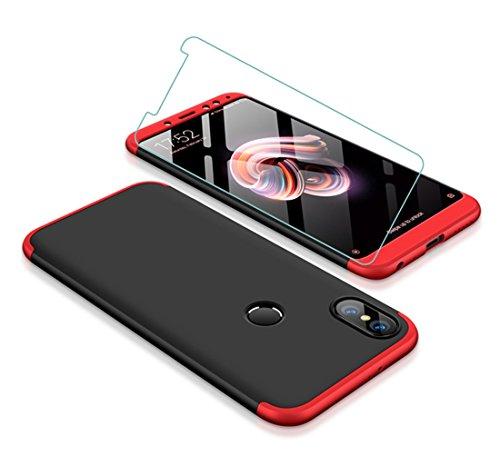 JOYTAG compatibles Funda Xiaomi Redmi Note 5/Redmi Note 5 Pro 360 grados Caja 3 en 1 PC case Protectora de película de vidrio templado -Rojo Negro