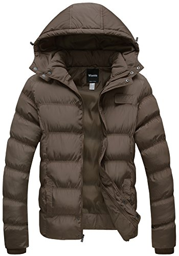 Wantdo Men's Winter Thicken Cotton Coat Puffer Jacket with Removable Hood US X-Large Khaki