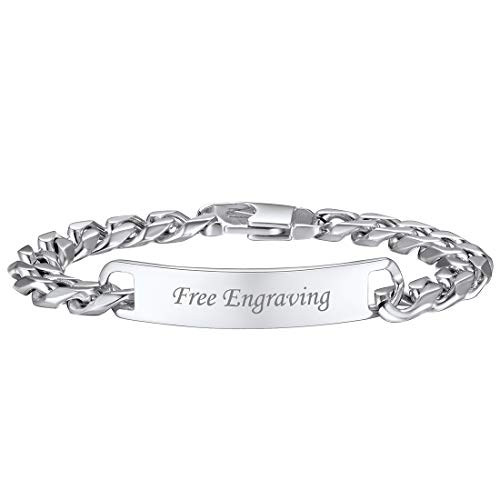 U7 Custom ID Bracelet Men Women Stainless Steel 7MM Wide Cuban Curb Link Chain Personalized Message Engrave Bar Bracelet Bangle, Length 19CM to 21CM (Stainless Steel, 21)