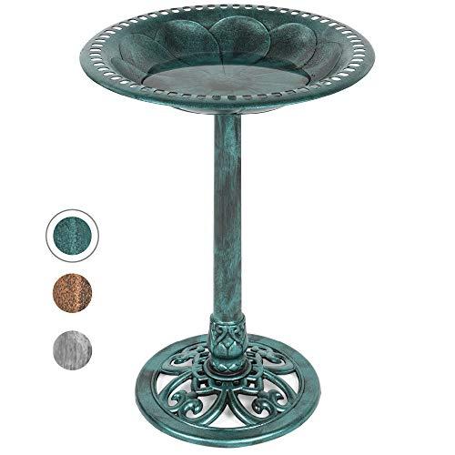 Best Choice Products Outdoor Rustic Pedestal Bird Bath Accent for Garden, Yard w/Fleur-de-Lis Accents Green