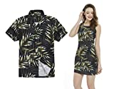 Couple Matching Hawaiian Luau Outfit Aloha Shirt Tank Dress in Pastel Leaves in Black Men 2XL Women L