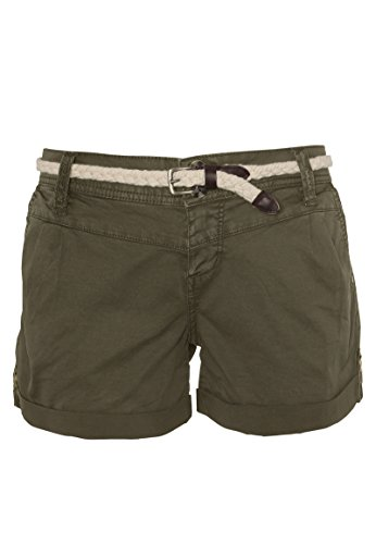Eight2Nine Damen Chino Shorts Hose mit Flecht-Gürtel Green M