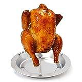 Soporte para asar de pollo, Soporte Vertical para Asar Pollo, Soporte para Gallinas (acero inoxidable) Para acampar, barbacoa