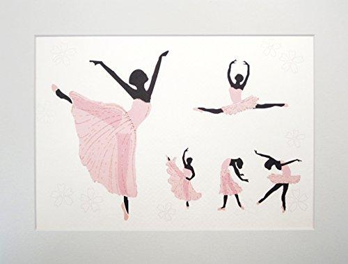 witte katoenen kaarten Baby & Kids Ballerina's, Print, Muurkunst (Code PIC14)