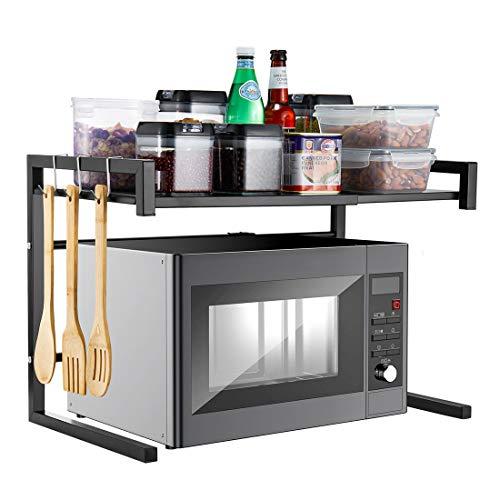 Genrics i BKGOO Support de Four à Micro-Ondes en Métal Noir étagère Extensible Fournitures de Cuisine Stockage de Vaisselle en Acier au Carbone Cuiseur à Riz 2 Niveaux de Comptoir avec 3 Crochets