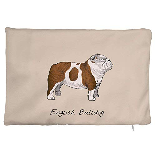 20x30cm Best Dog Lover Gifts Short Plush Lumbar Pillow Cover Old English Bulldog Illustration Toy Bulldog Decorative Pillowcase Cushion Cover for Sofa Bedroom Car 8 x 12 Inch Cute Dog Decor