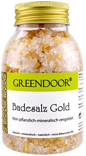 Greendoor Badesalz GOLD 300g, vegan, glitzernd schimmernd, rein natürliche mineralische und pflanzliche Basis, Naturkosmetik Innovation, Badezusatz Wellness, Damen Geschenk Mineral-Bad Prinzessin
