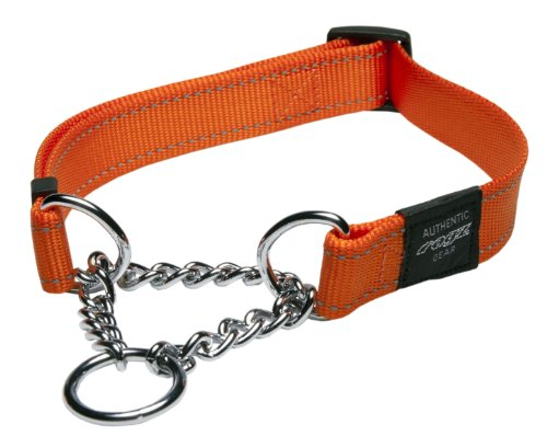 Rogz Utility Large 3/4-Inch Reflective Fanbelt Obedience Half-Check Dog Collar, Orange