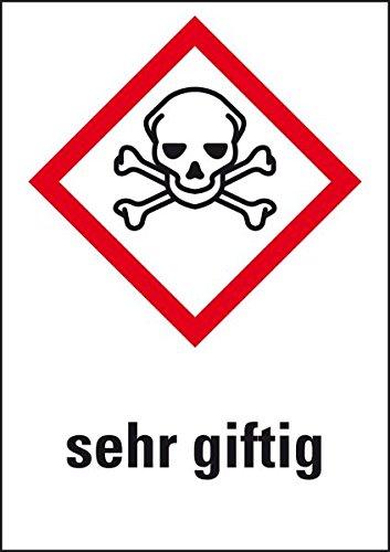 LEMAX® Gefahrensymbol Totenkopf m.gekr.Knochen GHS06,sehr giftig,Folie,26x37mm,12/Bogen