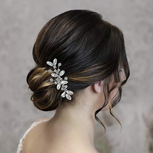 Vakkery - Horquillas para el pelo de boda con cristales plateados y...
