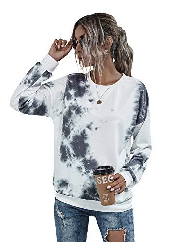 Floerns Women's Tie Dye Crew Neck Longsleeve Loose Pullovers Sweatshirt Tops White S