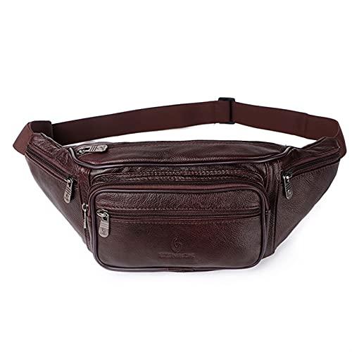 GLADMIN Bolso de Cuero de Cuero Hombre Paquete de Cintura Bolsa de Cintura Paquete Divertido Bolso Bolsa de cinturón Hombres Cadena Bolsa de Cintura para Bolsa de teléfono (Color : 861 Brown)