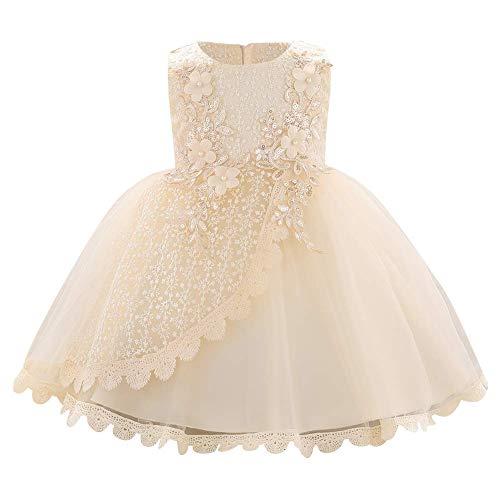 IBAKOM - Vestido de flores para bebé niña bordado, diseño de princesa, dama de honor, boda, cumpleaños, fiesta, forma de bautizo sin mangas, vestido tutú princesa champán 6-9 Meses