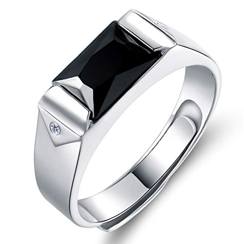 JiangXin Anello uomo argento 925 con iniziale,misura regolabile,per regali personalizzati Stile Fiori per uomo/Ragazza/Papa/Natale/Festa con Bella Scatola