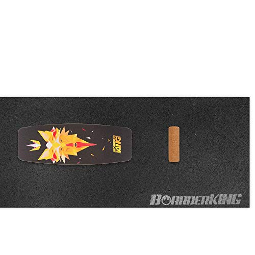 BoarderKING Indoorboard Limited Edition Wolf Skateboard Surfboard Trickboard Balanceboard Balance Board (Wake, 100 mm (Kork))