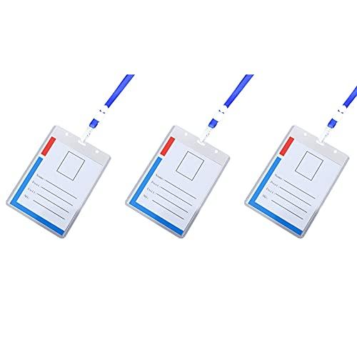3/5/10 unidades de soporte para tarjetas de identificación con cordón, de plástico transparente, horizontal, resistente al agua, duable