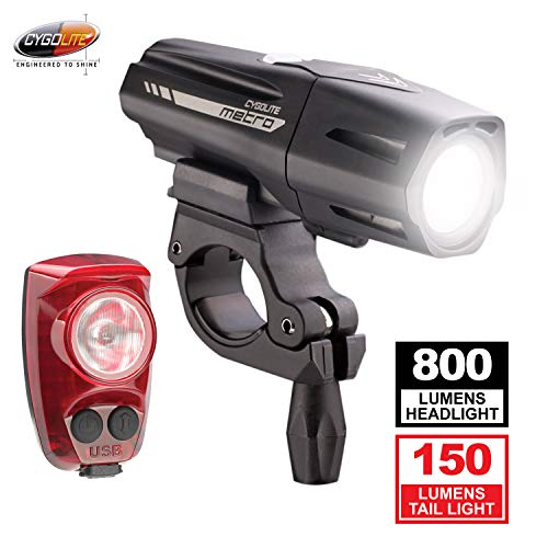 Cygolite Metro Plus 800 & Hotshot Pro 150 Bicycle Light Combo Set, Metro Plus 800 & Hotshot Pro 150 USB Rechargeable Bicycle Light Combo Set, Black, red
