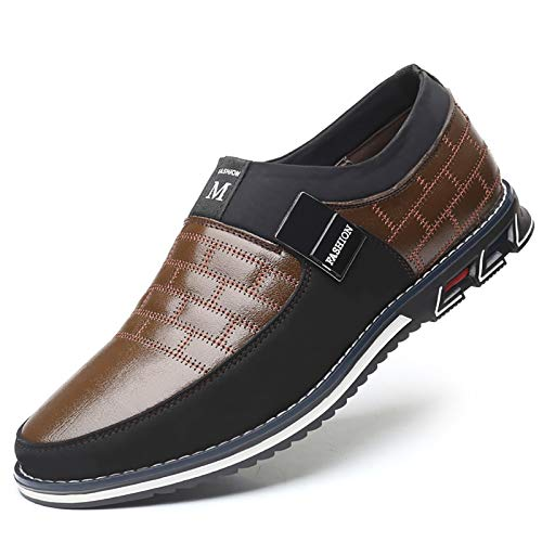 COSIDRAM Men Casual Shoes Slip ons Loafers Sneakers Breathable Comfort Walking Shoes Fashion Driving Shoes Luxury Leather Shoes for Male Business Work Office Dress Outdoor Brown 11