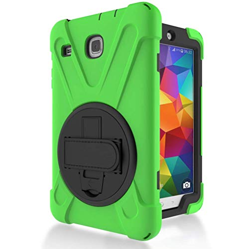 Ycxbox for Samsung Galaxy Tab E 8.0' T377 Case, Galaxy Rugged Hand Wrist Kickstand Stand Heavy Duty Kids Proof Protective Case for SM-T377A / SM-T377V / SM-T377P … (Green)