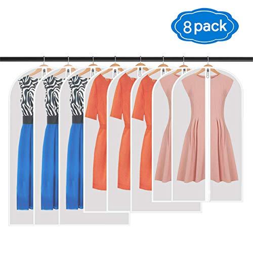 Qhui Kleidersack, Hochwertiger Kleidersäcke, Transparent, 8 Stücke, 120 x 60 cm + 100 x 60 cm + 80 x 60 cm, für Anzüge Kleider Mäntel Sakkos Hemden Abendkleider Anzugsack Aufbewahrung (8 Stück)