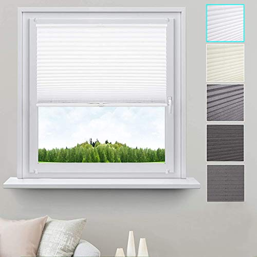 WOLTU Pleated Blinds Polyester No Drilling Easy Fix Pleated Shades Instant Temporary Privacy Blinds for Window or Door Crushed Look 65x130cm Grey