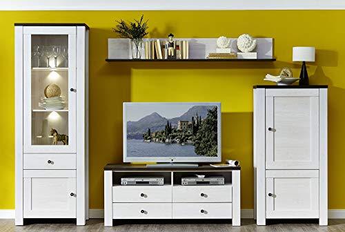 Peter ANLL711080 Wohnzimmerschrank Wohnwand Anbauwand TV Wohnlösung mit LED Beleuchtung, Holz, weiß, 40.0 x 300.0 x 203.0 cm - 2