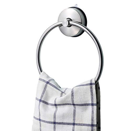 JSMY Anillo de Toalla Redondo sin perforación/Ventosa,Sistema de aspiración,Acero Inoxidable Sus 304,para baño y Cocina