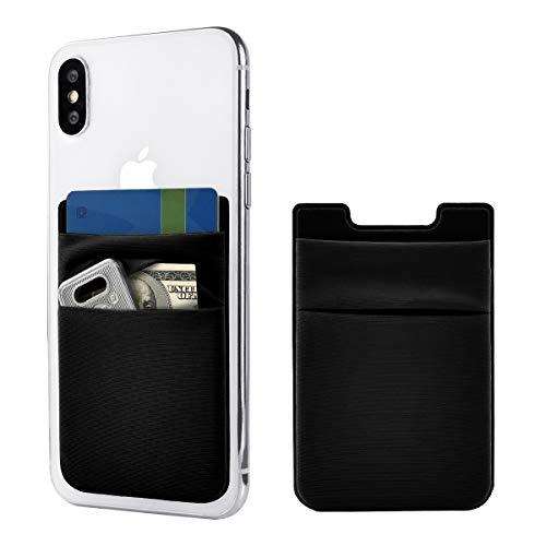 Newseego 2 Pack de Tarjeta de teléfono Celular Wallet [Double Pouch] Stick on Wallet Tarjetero de teléfono Phone Pocket Pouch Stretchy Phone Sleeve para iPhone & Android(Negro)
