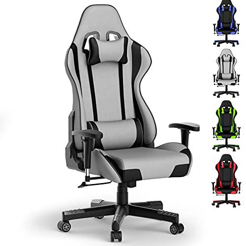 Cerolopy Gaming Stuhl mit Fußstützen, Polyester Stoff Gaming Büro Stuhl, Ergonomische Racer Gamer Stuhl, Flexibel einstellbare 2-Wege-Armlehnen, Stabile Gasdruckfeder, bis 150 kg Belastbarkeit (Grau)