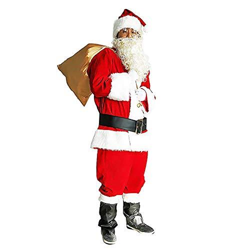 Papa Noel Traje Adulto Set de 10 Piezas Navidad Disfraces Disfraz Ropa de Terciopelo Pelucas Sombreros Gafas Bolsas...