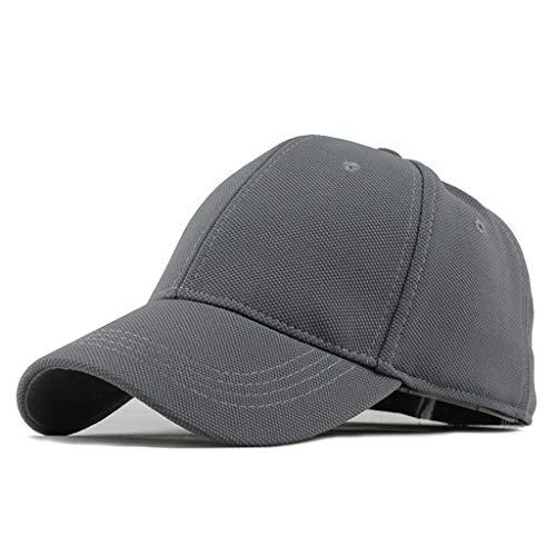 Luckhome Baseball Cap Unisex Kappe ohne Verschluss für Herren, Damen und Kinder ,Unisex-Outdoor-Baumwolle Hochwertige einfarbige Baseballmützen Einstellbarer Hut(Grau)