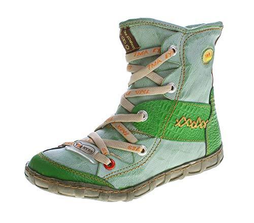 TMA Leder Winter Stiefeletten Damen Knöchel Schuhe gefüttert Grün Stiefel Knöchelschuhe Gr. 39