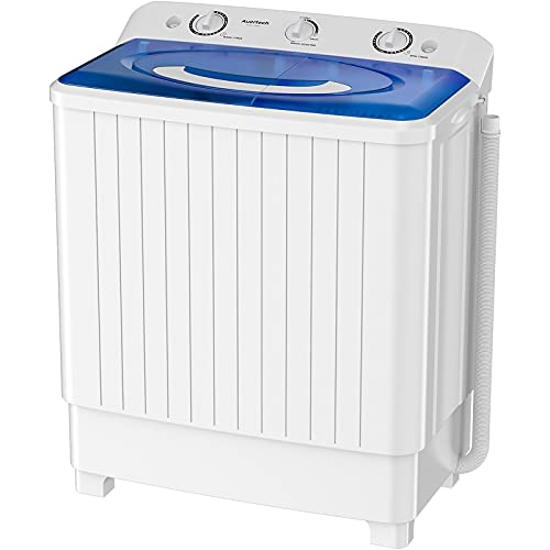 Auertech Portable Washing Machine, 28lbs Mini Twin Tub Washer Compact Laundry Machine with Built-in Gravity Drain Time Control, Semi-automatic 18lbs Washer 10lbs Spinner for Dorms, Apartments, RVs