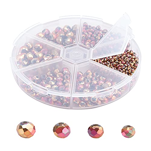 SUPERFINDINGS 880 unidades de 3 a 8 mm chapado en oro rosa, cuentas de cristal galvanizadas facetadas para pulseras, collares, joyas y decoraciones.