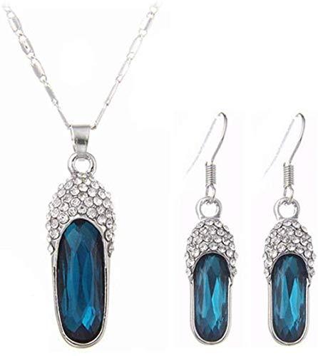 OlovdHit Halskette Damen Halskette Element Schlüsselbein Weiblich/Kleine Glas Pantoffel Hochzeit Brautschmuck Set
