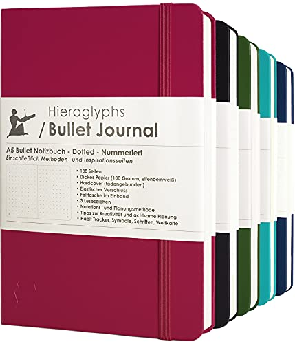 Bullet Journal/Notizbuch A5 dotted - mit Methode - nummerierte Seiten, Falttasche, 3 Lesezeichen, Verschlussgummi - von Hieroglyphs