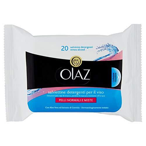Lingettes démaquillantes per waterproof con aloe vera skin essential 1 pacchetto da 20 salviettine