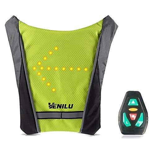 Venilu Dossard Gilet LED Clignotants - 3 Modes de Contrôle - Bretelles Ajustables - Télécommande sans-Fil pour Cycliste Velo Moto...