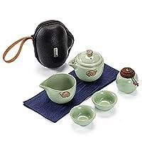 美しく旅行のティーセット、携帯的なkungfu茶セット、シンプルな貯蔵陶磁器ティーセット、オフィスや家の毎日のお茶に使用される green-A