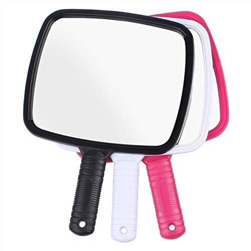 Leeven Espejo de mano con mango de gran tamaño para afeitar, herramienta de corte de pelo, mango antideslizante profesional, espejo de plástico para peluqueros diarios y salón (1 paquete de 1 blanco)