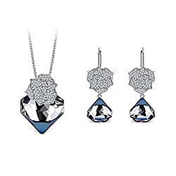 Sapphire Blue Pendant Necklace and Drop Earring Set