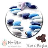 1kg Dragées Chocolat - Variation Bleu - reves et dragees mes fetes