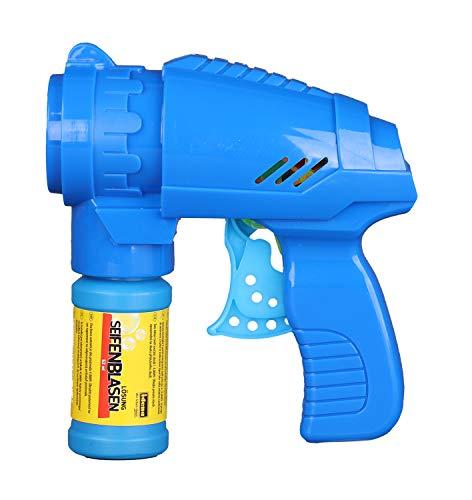 Idena 40089 - Seifenblasenpistole mit Seifenblasenlösung 53 ml, in der Farbe blau, ideal für den Sommer, im Garten und auf Partys