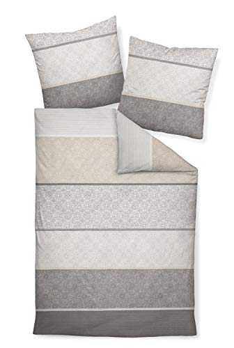 Janine 65016 Feinbiber Bettwäsche Davos 155x220 cm + 80x80 cm Silber-Sand